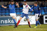 Danske Bank Premiership, Mourneview Park, Co. Armagh 3/4/2018 . Glenavon vs Linfield. Mandatory Credit ©INPHO/William Cherry. Glenavon\'s Simon Kelly and Josh Daniels with Linfield\'s Niall Quinn