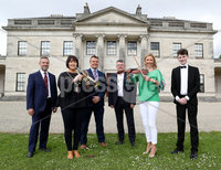 Press Eye - Belfast -  Northern Ireland - 17th May 2017 - Photo by William Cherry. Launching this year's BBC Proms in the Park at Castle Coole outside Enniskillen, were from left, Jim Chestnutt, General Manager for the Fermanagh Property Group with the National Trust, Councillor Mary Garrity, Chairperson of Fermanagh and Omagh District Council, Terry McCartney, Board Member, Tourism Northern Ireland, Peter Johnston, Director, BBC Northern Ireland, Claire McCollum, one of the presenters of this year's BBC Proms in the Park at Castle Coole and young Fermanagh-born pianist Oisin McManus. This year's BBC Proms in the Park will come live from the grounds of the National Trust property on Saturday 9 September