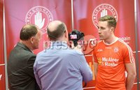 PressEye Belfast - Northern Ireland - 18th May 2017. Tyrone GAA press night at the Garvaghey Centre ahead of the Ulster Senior Football Championship tie against Derry.. Pictured: Tyrone player Niall Sludden speaking to media at the press night in Garvaghey Centre. Picture by John Stafford/PressEye.com