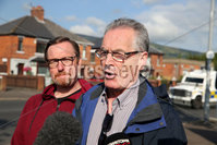 Press Eye - Belfast - Northern Ireland  - 12th July 2017 - . Sinn Fein Councillor Gerard McCabe, left and Gerry Kelly MLA speak to the media after bandsmen and members of the Orange Order march down the Crumlin Road, past Ardoyne shops, in North Belfast after a deal was struck last year between the Orange Order and the Ardoyne Residents Association. . Orangemen from across Northern Ireland will rake part in the annual commemoration of William of Orange\'s victory over King James II at the Battle of the Boyne in 1690.. Photo by Kelvin Boyes / Press Eye..