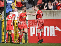 12th May 2018. Europa league play off final between Cliftonville and Glentoran at Solitude in Belfast.. Cliftonville\'s Joe gormley celebrates after his goal seen his side thru to the Europa League. Mandatory Credit: Inpho/Stephen Hamilton
