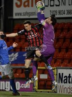 Press Eye - Northern Ireland -12th February 2016. Photograph:Presseye /Stephen Hamilton. Danske Bank Irish premier league match betweeen Crusaders and Glenavon at Seaview Belfast.. Crusaders Paul Heatley  in action with Glenavons Johnny Tuffey