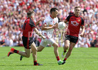 Ulster GAA Senior Football Championship Final, St Tiernach\'s Park, Clones, Co. Monaghan 16/7/2017. Down vs Tyrone. Tyrone\'s Matthew Donnelly with Down\'s Caolan Mooney and Conor Maginn. Mandatory Credit ©INPHO/Presseye/Philip Magowan