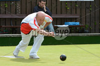 Mandatory Credit: Rowland White/Presseye. Bowls: Inter-Association . Teams: Private Greens League (red and white) v Provincial Bowling Association (white). Venue: Belmont. Date: 2nd June 2012. Caption:  Robin Horner, PGL