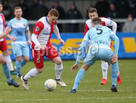 Danske Bank Premiership, Milltown, Warrenpoint. 8/2/2020. Warrenpoint Town  vs Linfield FC. Warrenpoint Town\'s Anton Reilly and Shayne Lavery  of Linfield.. Mandatory Credit  INPHO/Brian Little