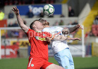 13th April 2019. Danske Bank Irish premiership. Cliftonville v Ballymena United at Solitude Belfast.. Cliftonville\'s Chris Curran in action with Ballymena\'s  Steven McCullough . Mandatory Credit -Inpho/Stephen Hamilton .