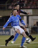 Press Eye - Northern Ireland -12th February 2016. Photograph:Presseye /Stephen Hamilton. Danske Bank Irish premier league match betweeen Crusaders and Glenavon at Seaview Belfast.. Crusaders Declan Caddell  in action with Glenavons Andy Kilmartin