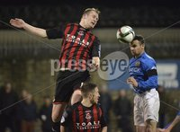 Press Eye - Northern Ireland -12th February 2016. Photograph:Presseye /Stephen Hamilton. Danske Bank Irish premier league match betweeen Crusaders and Glenavon at Seaview Belfast.. Crusaders Jordan Owens  in action with Glenavons Andy Kilmartin