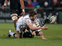 12 February 16 - Picture by Darren Kidd / Press Eye..  . Guinness PRO12 Ulster v Glasgow at Kingspan Stadium, Belfast.. Ulster\'s Stuart McCloskey is tackled by Glasgow\'s Glenn Bryce