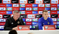 Press Eye - Belfast, Northern Ireland - 09th October 2019 - Photo by William Cherry/Presseye. Northern Ireland manager Micheal O\'Neill and captain Steven Davis during Wednesday nights press conference at Stadium Feijenoord ahead of Thursday nights UEFA Euro 2020 Qualifier against Netherlands in Rotterdam. Photo by William Cherry/Presseye