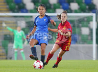 Press Eye Belfast - Northern Ireland 8th August 2017. 2017 UEFA Women\'s Under-19 Championship Final at the National Stadium at Windsor Park, Belfast.  France Vs Spain. France\'s Sana Daoudi with Spain\'s Maite Oroz. Picture by Jonathan Porter/PressEye.com.
