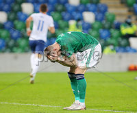 Press Eye - Belfast - Northern Ireland - 12th November 2020. European Championship 2020.  Playoff for Final Tournament - Northern Ireland Vs Slovakia at The National Stadium at Windsor Park, Belfast.. Northern Irelands Stuart Dallas pictured after Slovakia score to make it 1-2 in extra time.. Picture by Jonathan Porter/PressEye