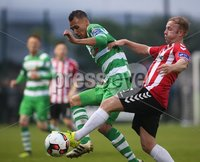 ©/Presseye.com - 19th May 2017.  Press Eye Ltd - Northern Ireland - Airtricity League Premier Division - Derry City V Shamrock Rovers. Shamrock Rovers\' Graham Burke and Derry\'s Nicky Low.. Mandatory Credit Photo Lorcan Doherty / Presseye.com