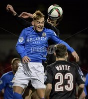 Press Eye - Northern Ireland -12th February 2016. Photograph:Presseye /Stephen Hamilton. Danske Bank Irish premier league match betweeen Crusaders and Glenavon at Seaview Belfast.. Crusaders Declan Caddell  in action with Glenavons Mark Sykes