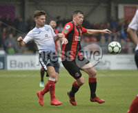 6th August 2018. Danske Bank Irish premier league match between Crusaders and Ards at Seaview.. Crusaders Billy Joe Burns  in action with Ards David McAllister.  Mandatory Credit: Stephen Hamilton /Inpho