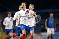 Danske Bank Premiership, Mourneview Park, Co. Armagh 3/4/2018 . Glenavon vs Linfield. Mandatory Credit ©INPHO/William Cherry. Linfield\'s Andrew Waterworth celebrates scoring against Glenavon