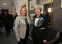 Press Eye - Belfast - Northern Ireland - 12th February 2018 - . Northern Ireland Talks at Stormont House, Belfast . Secretary of State for Northern Ireland Karen Bradley welcomes Prime Minister Theresa May to Stormont House.. Photo by Kelvin Boyes / Press Eye..