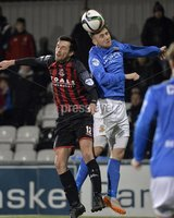 Press Eye - Northern Ireland -12th February 2016. Photograph:Presseye /Stephen Hamilton. Danske Bank Irish premier league match betweeen Crusaders and Glenavon at Seaview Belfast.. Crusaders Declan Caddell  in action with Glenavons Conor Dillon
