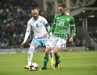 11th August 2018. International Friendly match between . Northern Ireland and Israel  at the national stadium in Belfast.. Northern Irelands Gavin Whyte  in action with Israels Bibras Natkho.  Mandatory Credit: Stephen Hamilton /Presseye