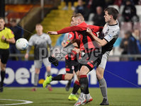 3/12/2019. Bet McLean league cup semi final between Crusaders and Institute at Seaview.. Crusaders David Cushley in action with Institutes Gareth Brown. Mandatory Credit Inpho/Stephen Hamilton