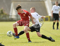 26th  July 2018. SuperCupNI 2018 Minor  section semi final between Greenisland and Portadown at Seahaven Portstewart.. Greenisland\'s Logan Wallace in action with Portadowns Sam Anderson.  Mandatory Credit: Stephen Hamilton /Presseye