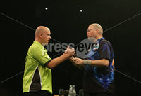 Press Eye - Northern Ireland - 20th April 2017 - Photographer - © Matt Mackey / Presseye.com. Betway Premier League Darts, Night 12, The SSE Arena, Belfast.. Michael van Gerwen v Raymond van Barneveld. Winner Michael van Gerwen (green)