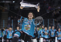 Press Eye - Belfast -  Northern Ireland - 06th April 2019 - Photo by William Cherry/Presseye. Belfast Giants\' Kevin Raine pictured with the Elite Ice Hockey League trophy after being crowned Champions at the SSE Arena, Belfast.       Photo by William Cherry/Presseye