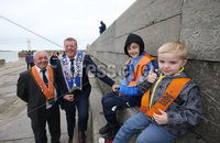 Press Eye - Northern Ireland - 18th April 2017 - Photographer - © Matt Mackey / Presseye.com. (L-R). Sammy Wilson, Stuart Bradshaw, Charlie Wilson and Carson Bradshaw enjoy their day out in Donaghadee.. The Junior Orange Association of Ireland hold its annual Easter Tuesday demonstration in Donaghadee. . The main parade, organised by Belfast Junior County Lodge, left the Harbour Road car park and proceed through the town centre to Crommelin Park playing fields. .  . Senior officers and juniors representing three Belfast Districts, Donaghadee, and a number of other lodges from across Northern Ireland - accompanied by eight bands participated.