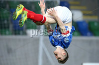 PressEye-Northern Ireland- 18th April 2017-Picture by Brian Little/PressEye. Linfield  Paul Smyth celebrates his sides third goal against    Glenavon   during Easter Tuesday\'s Danske Bank Section A match at Windsor Park.. Picture by Brian Little/PressEye