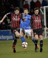 Press Eye - Northern Ireland -12th February 2016. Photograph:Presseye /Stephen Hamilton. Danske Bank Irish premier league match betweeen Crusaders and Glenavon at Seaview Belfast.. Crusaders Billy Joe Burns  in action with Glenavons Daniel Kearns