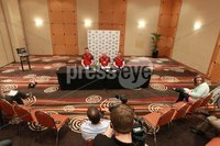 Ireland Rugby Press Conference, Crowne Plaza Hotel, Auckland, New Zealand 11/6/2012. Ireland player Donnacha Ryan Team Manager Mick Kearney and assistant coach Mark Tainton  during the press conference. Mandatory Credit ©INPHO/Billy Stickland