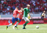Press Eye - Belfast -  Northern Ireland - 03rd June 2018 - Photo by William Cherry/Presseye. Costa Rica\'s Johnny Acosta with Northern Ireland\'s Liam Boyce during Sunday mornings International Friendly at the Nuevo Estadio Nacional de Costa Rica in San Jose.   Photo by William Cherry/Presseye
