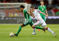 Press Eye - Belfast -  Northern Ireland - 11th June 2019 - Photo by William Cherry/Presseye. Belarus\' Yuri Kovalev with Northern Ireland\'s Jamal Lewis during Tuesday nights UEFA EURO 2020 Qualifier at the Borisov Arena, Belarus.      Photo by William Cherry/Presseye