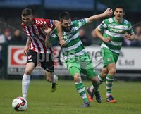 ©/Presseye.com - 19th May 2017.  Press Eye Ltd - Northern Ireland - Airtricity League Premier Division - Derry City V Shamrock Rovers. Derry\'s Harry Monaghan and Shamrock Rovers\' Brandon Miele.. Mandatory Credit Photo Lorcan Doherty / Presseye.com