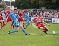PressEye-Northern Ireland- 27th   July  2018-Picture by Brian Little/PressEye. SuperCupNI. Premier   Section . B Italia Bariol Nicolas has a shot on the Co Down goal       during the SuperCupNI Premier  Final  at Ballymena Showgrounds. . Picture by Brian Little/PressEye