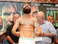 Press Eye - Belfast - Northern Ireland - 29th June 2018. Weigh in at the Europa Hotel in Belfast ahead of Michael Conlan\'s homecoming fight against Brazilian Adeilson Dos Santos at the SSE Arena on Saturday night. . Jono Carroll weighs in. . Picture by Jonathan Porter/PressEye