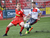 Press Eye Belfast - Northern Ireland 12th August 2017. Danske Bank Irish Premier league match between Cliftonville and Ards at Solitude Belfast.. Cliftonville\'s Chris Curran  in action with Ards Kyle Cherry.  Photo by Stephen  Hamilton / Press Eye