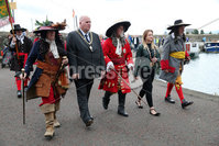 Press Eye - Belfast - Northern Ireland  - 13th July 2017 - . Brian Dawson dressed as King William takes part in the re-enactment of the Siege of Carrickfergus Castle and the landing of King William at Castle Green, Carrickfergus. The event included re-enactment groups from across the Northern Oteland, all dressed in period costume followed by a Pageantry parade to meet King William upon his landing at Carrick Harbour. . Photo by Kelvin Boyes / Press Eye..