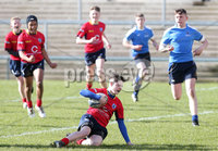 Press Eye Belfast - Northern Ireland 14th March 2019. Danske Bank U16High Schools Trophy Final. Craigavon High School(red) Vs Ballyclare Secondary School. . Craigavon\'s ciaran petersen pushes forward to score a try. . Picture by Jonathan Porter/PressEye.com