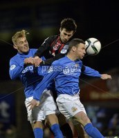 Press Eye - Northern Ireland -12th February 2016. Photograph:Presseye /Stephen Hamilton. Danske Bank Irish premier league match betweeen Crusaders and Glenavon at Seaview Belfast.. Crusaders Declan Cadell  in action with Glenavons Andy Kilmartin