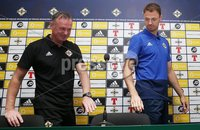 PressEye-Northern Ireland- 10th September  2018-Picture by Brian Little/ PressEye. Northern Ireland  manager Michael O\'Neill and Jonny Evans  at a press conference  ahead of Tuesday Friendly International Challenge match against Israel  at the National Football Stadium at Windsor Park.. Picture by Brian Little/PressEye