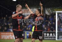 12th September 2017 . Danske Bank Irish premier league match between Crusaders and Linfield at Seaview.. Crusaders Paul Heatley celebrates after scoring  to make it 2-0 to the Crues.  Photo by Stephen Hamilton /Inpho
