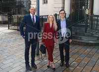 Press Eye Belfast - Northern Ireland  11th September 2017 . Model Laura Lacole was back in the Court of Appeal today for the on going legal challenge over humanist marriage in Northern Ireland. . Pictured  outside with her solicitor Ciaran Moynagh (left) and Richy Thompson of Humanist UK.. Copy see Alan Erwin Laganside Media