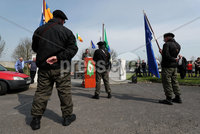 Press Eye - Belfast - Northern Ireland - 20th April 2019 -  . Des Dalton from Republican Sinn Fein during the Easter Republican commemoration in the Kilwilkee Housing Estate, Lurgan, County Armagh organised by Republican Sinn Fein.. Photo by Kelvin Boyes  / Press Eye..