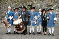 Press Eye - Belfast - Northern Ireland  - 13th July 2017 - . Paul Reid, Mayor of Mid and East Antrim and Deputy Mayor Cheryl Johnston take part in the re-enactment of the Siege of Carrickfergus Castle and the landing of King William at Castle Green, Carrickfergus. The event included re-enactment groups from across the Northern Oteland, all dressed in period costume followed by a Pageantry parade to meet King William upon his landing at Carrick Harbour. . Photo by Kelvin Boyes / Press Eye..