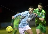 Danske Bank Premiership, Milltown Playing Fields, Newry 13/2/2018. Warrenpoint Town vs Cliftonville. Mandatory Credit ©INPHO/Stephen Hamilton. Warrenpoints Conor McMenamin  in action with Cliftonvilles  Shane Grimes