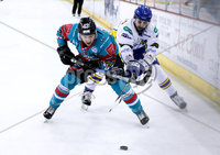 Press Eye - Belfast -  Northern Ireland - 09th February 2018 - Photo by William Cherry/Presseye. Belfast Giants Brendan Connolly with Fife Flyers Shayne Stockton during Friday nights Elite Ice Hockey League game at the SSE Arena, Belfast.