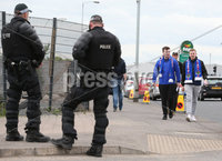 Press Eye - Belfast - Northern Ireland - 14th July 2017 .  Linfield fans arrive at Windsor Park in Belfast . to watch Linfield v Celtic in their first Champions League game.. Picture by Matt Mackey / presseye.com.