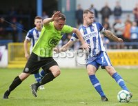 Danske Bank Premiership, Showgrounds, Coleraine 4/8/2018. Coleraine vs Warrenpoint. Warrenpoint\'s Alan O\'Sullivan and Coleraine\'s Darren McCauley. Mandatory Credit ©INPHO/Lorcan Doherty