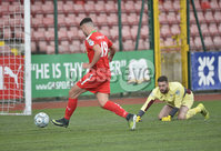Press Eye Belfast - Northern Ireland 12th August 2017. Danske Bank Irish Premier league match between Cliftonville and Ards at Solitude Belfast.. Cliftonville\'s Jie Gormley slots home to make the score 2-1.  Photo by Stephen  Hamilton / Press Eye